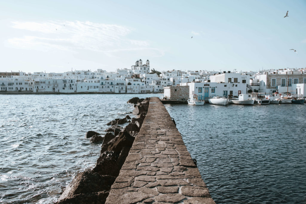 Naousa town from fort pier in Paros Island