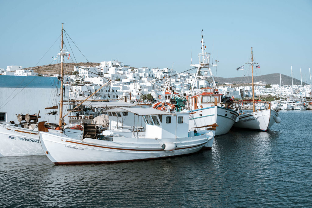 Fishing boats moored in a Greek town