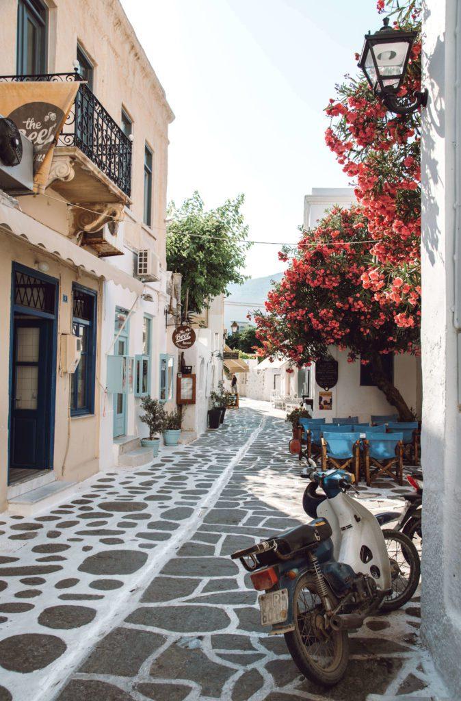 streets in Parikia Greece on Paros Island