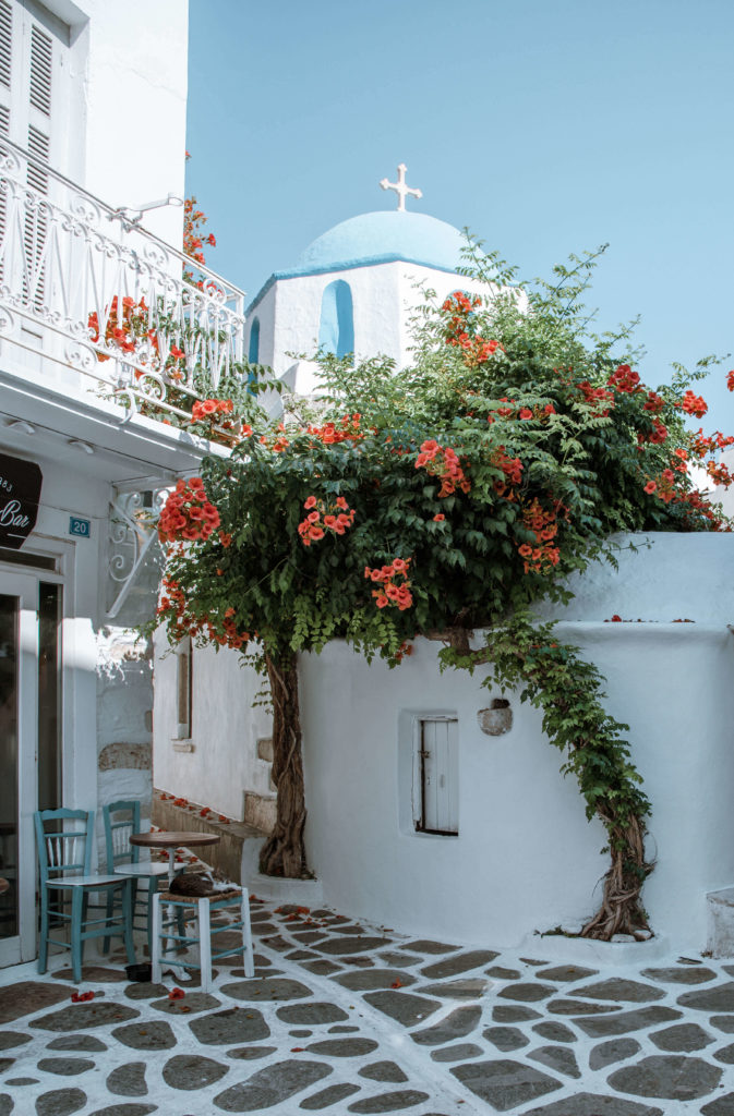 Blue domed church on the streets of Paros, Greece