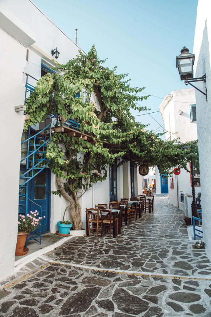 Greek street on Milos Island Greece
