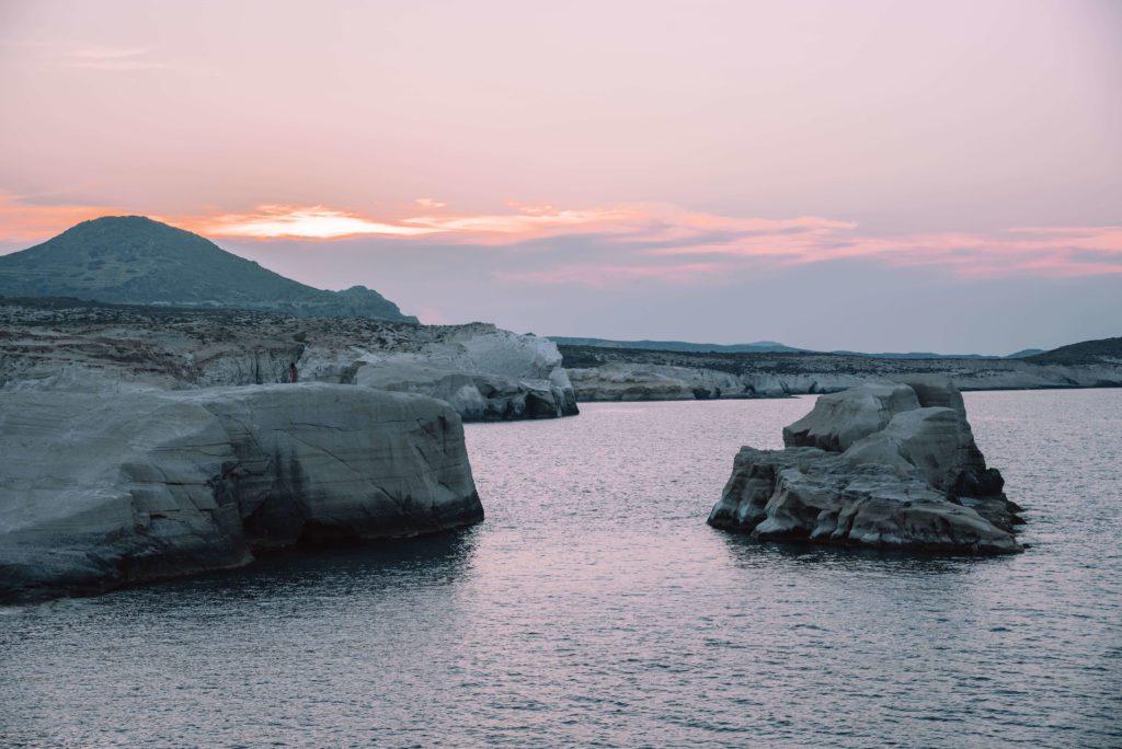 Sarakiniko Beach Milos at sunset