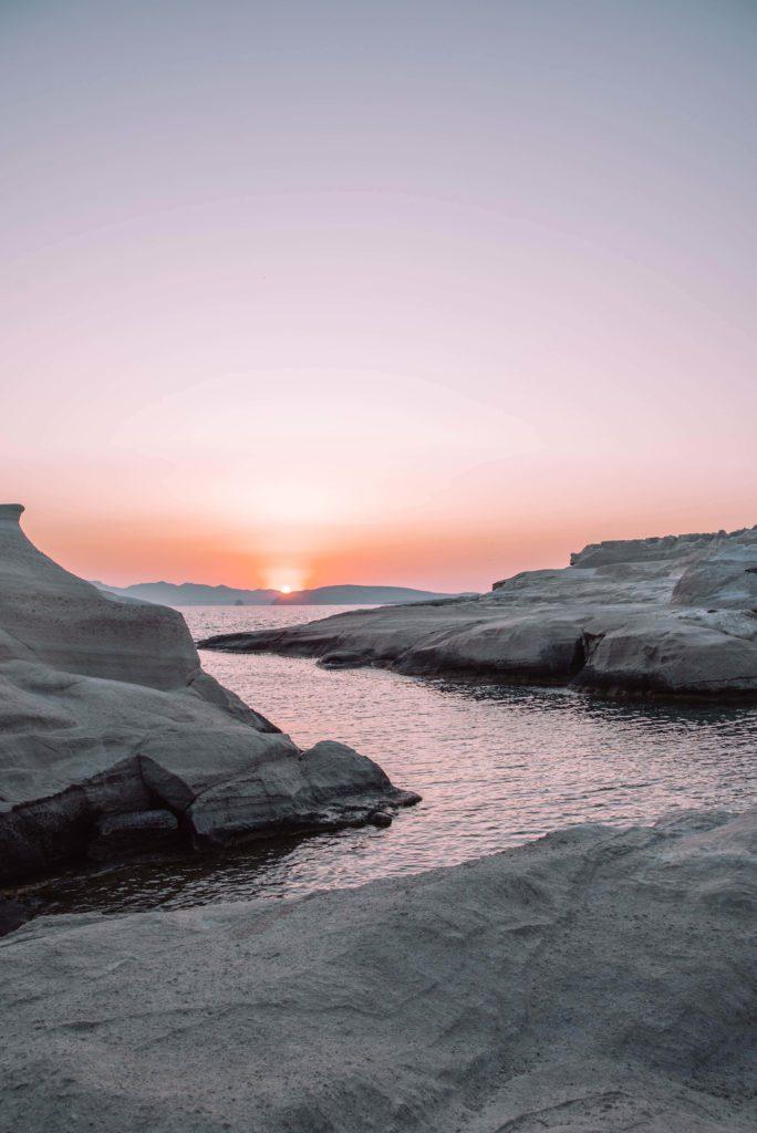 Sunrise in Milos on Sarakiniko Beach