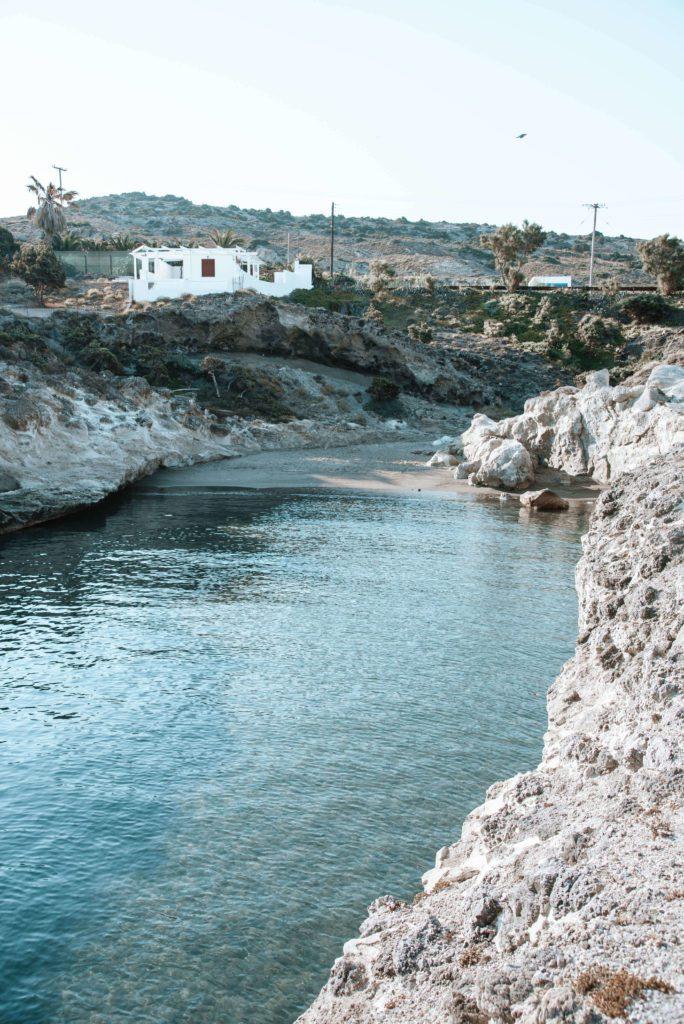 Cove and beach on Milos, Greece