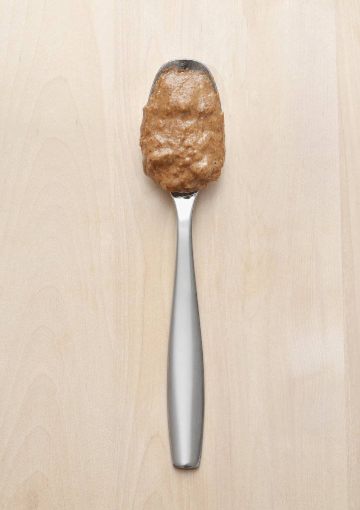almond butter on a spoon