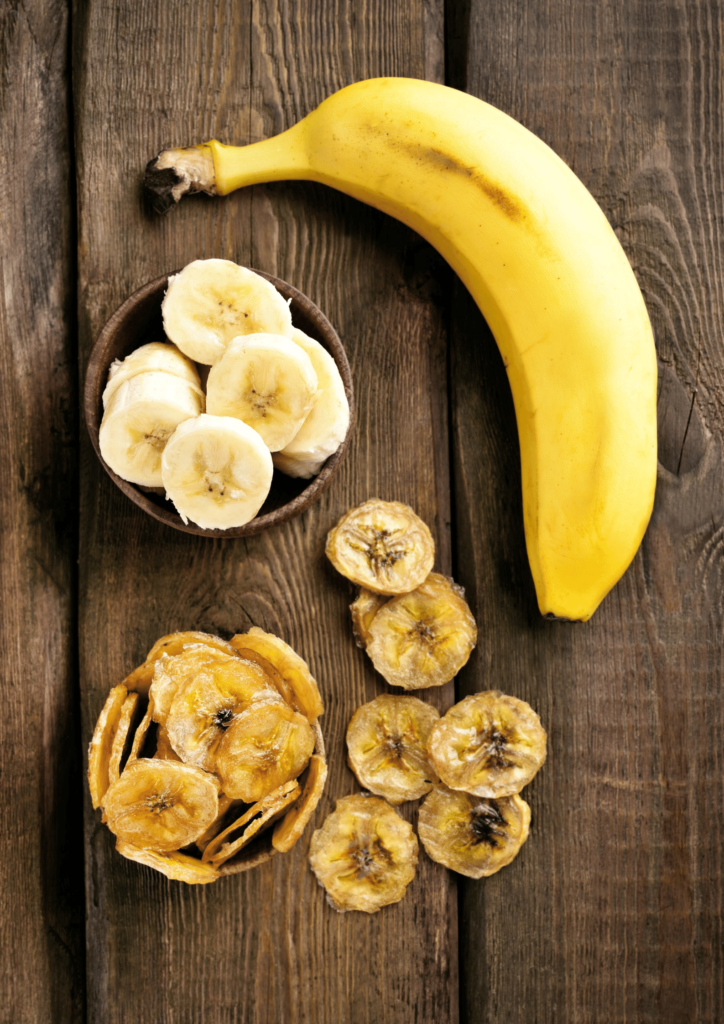 banana and banana chips in a wooden table