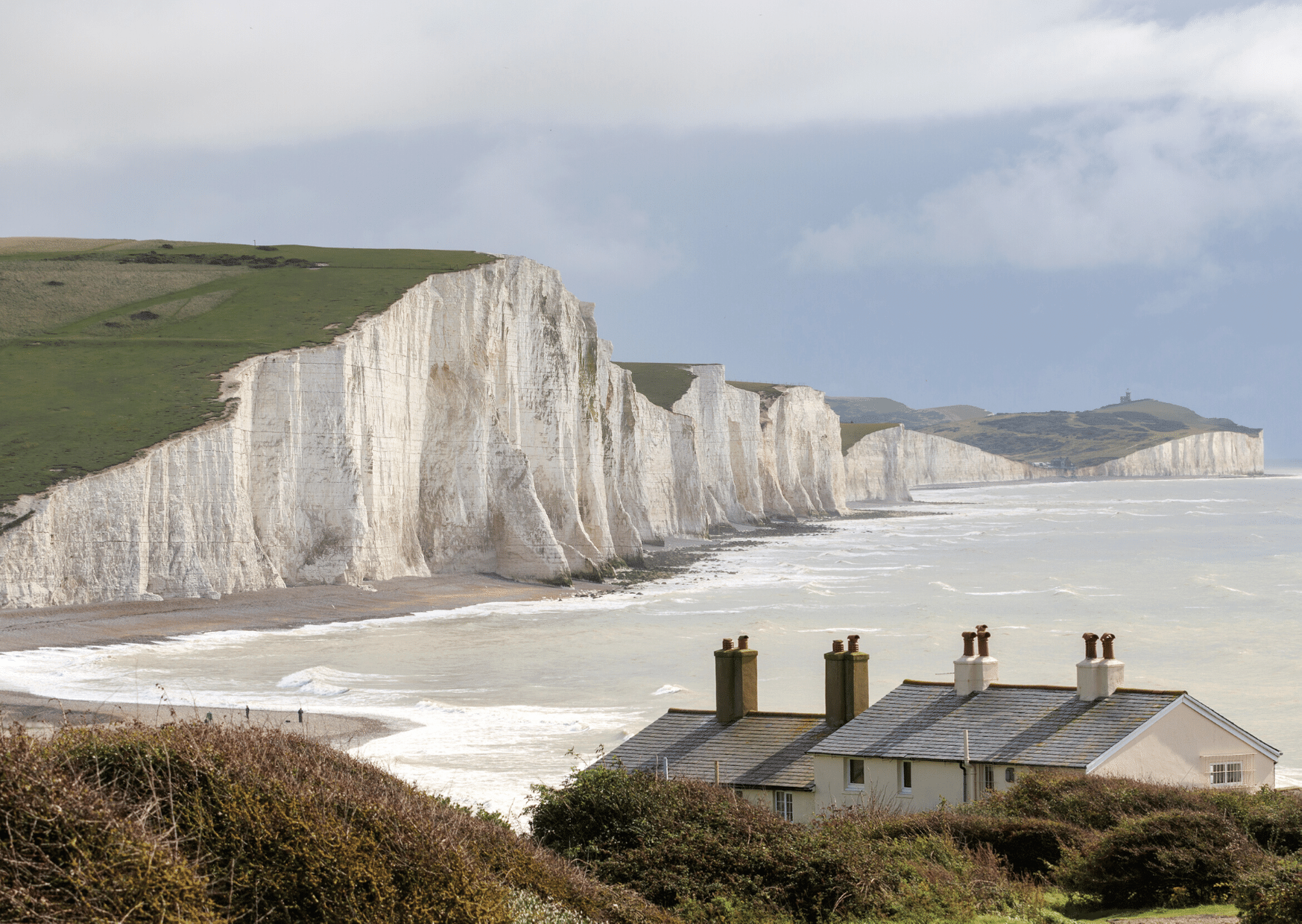 houses in front of the seven sisters cliffs dover