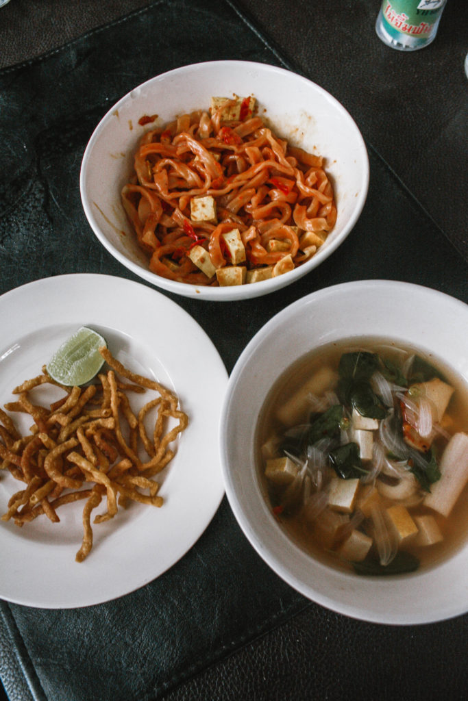 Assortment of Thai dishes made in a cooking course