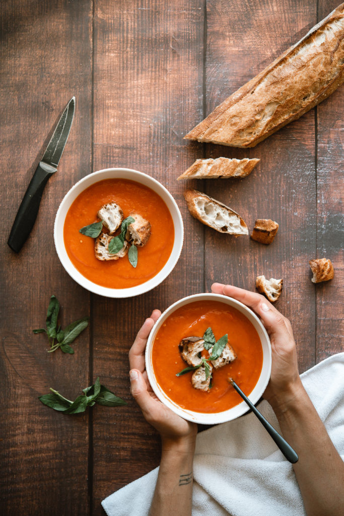 Vegan roasted red pepper and tomato soup