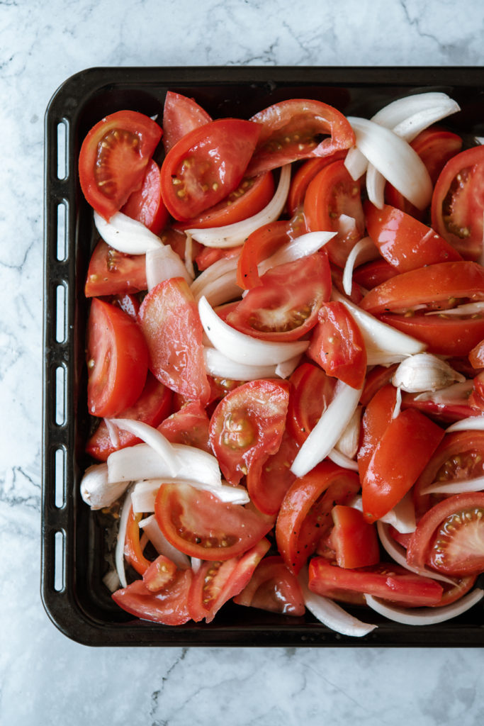 Roasted tomatoes for vegan red pepper and tomato soup