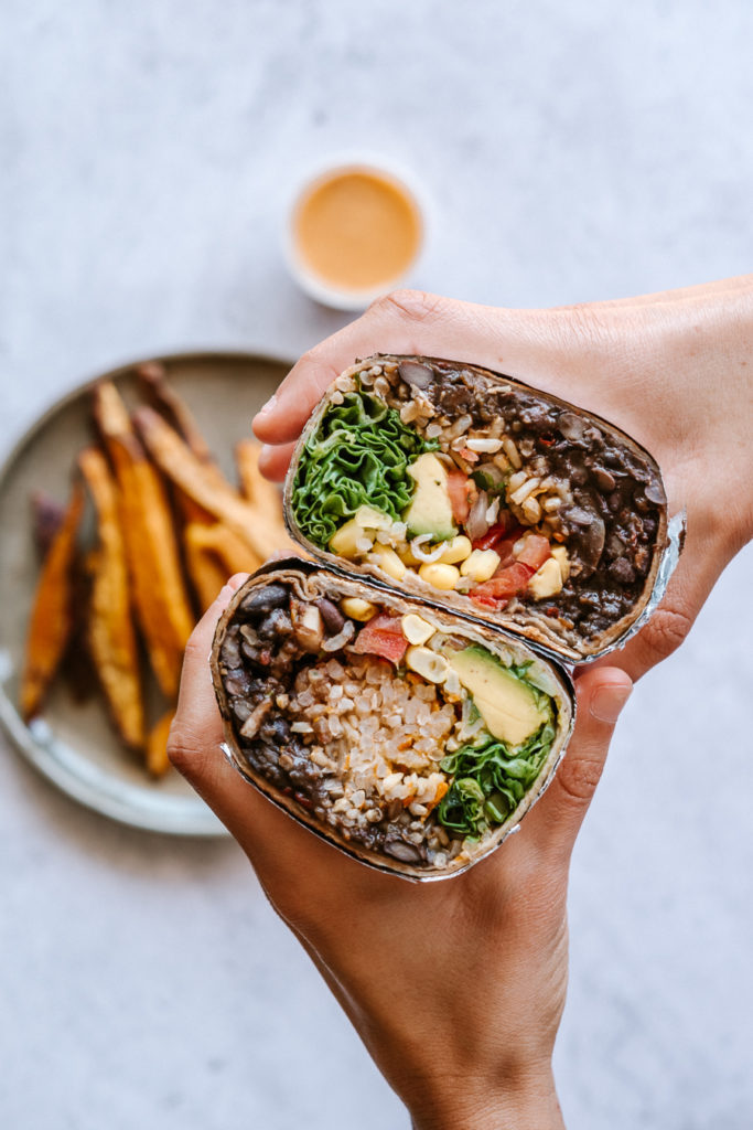 vegan burrito and sweet potato fries