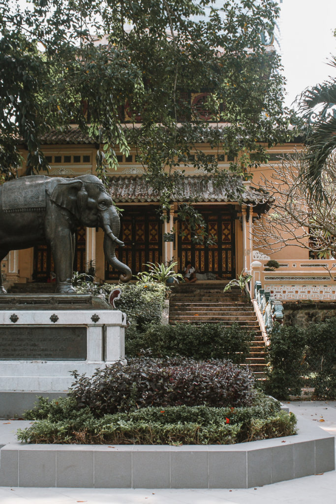 Temple building and elephant in Vietname