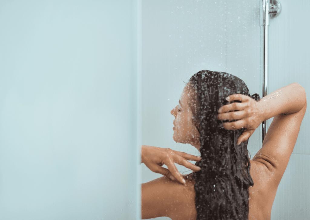 woman talking a shower