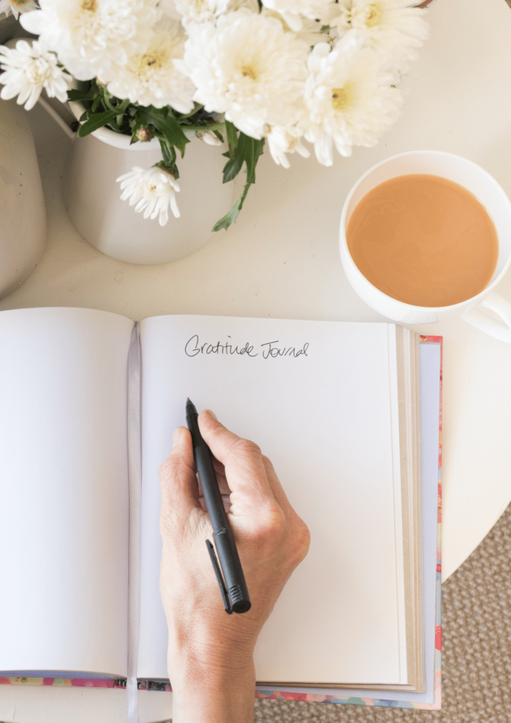 journal and tea- healthy morning routine