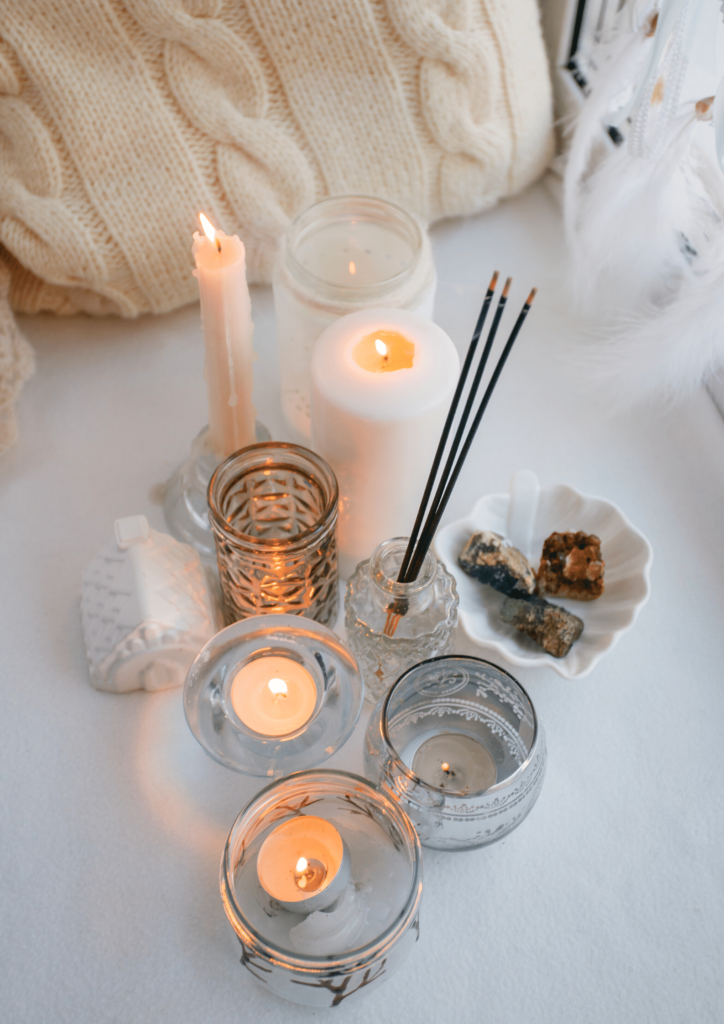 candles and incesnse healthy morning routine