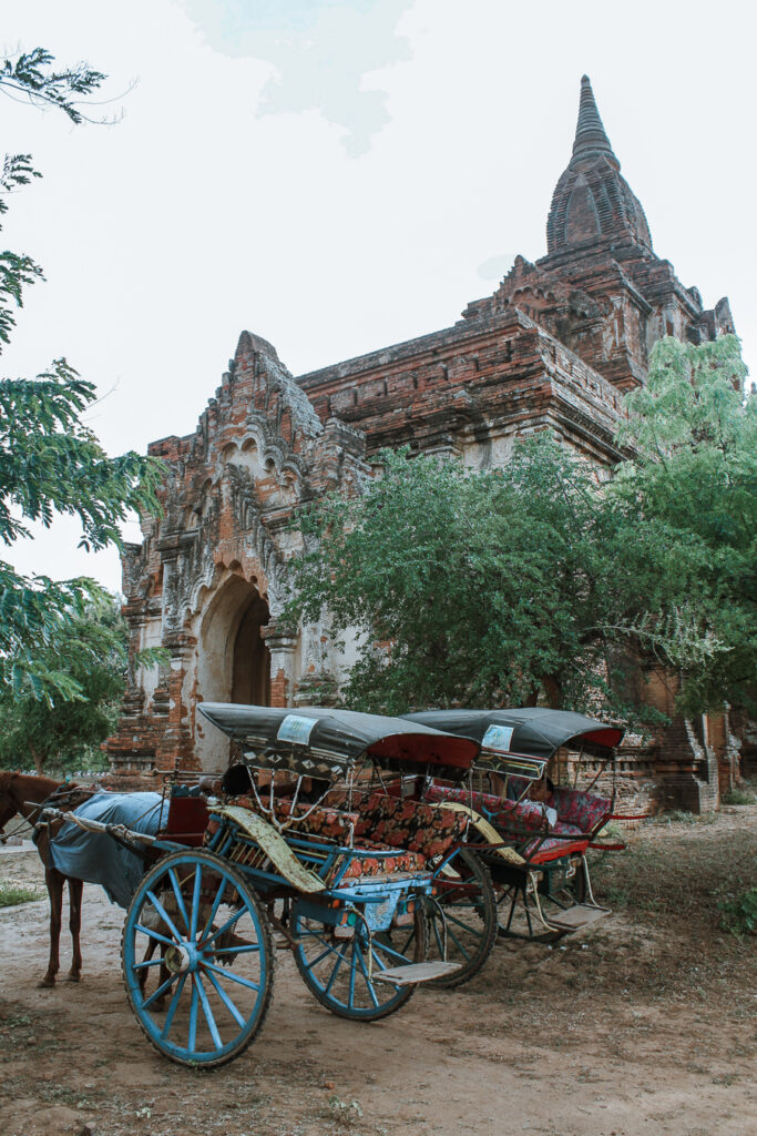 horse and cart outside of bagan temple