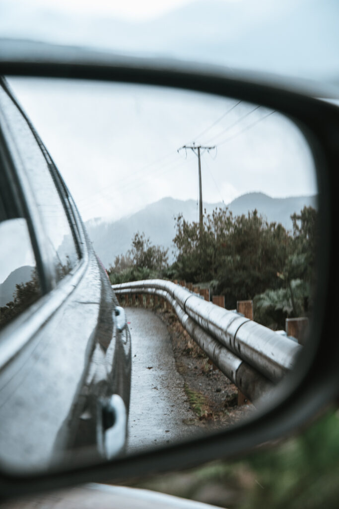 Side mirror views of the Carretera Austral Chile