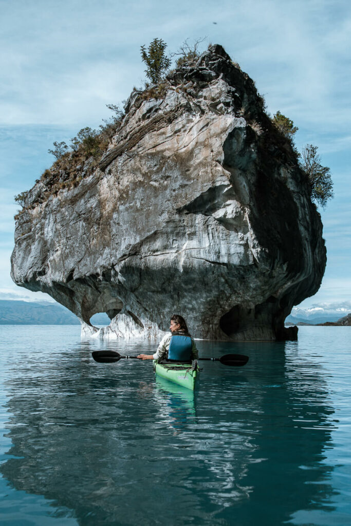 woman kayaking at marbl