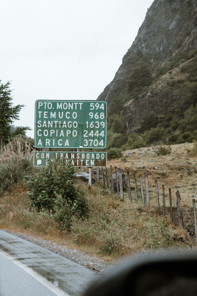 Old road sign along the Carretera Austral Chile