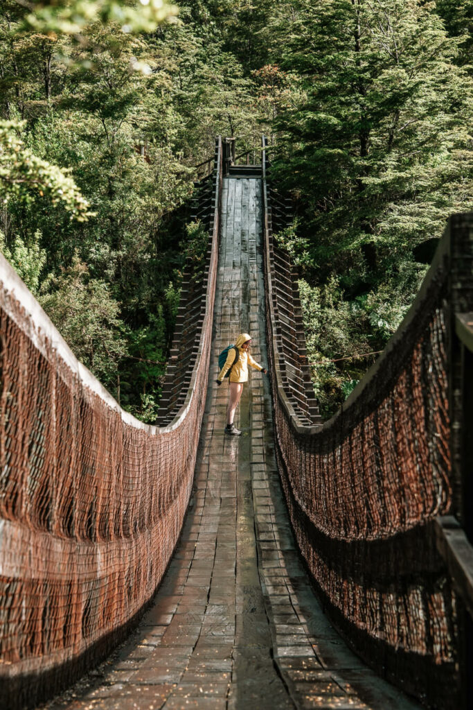 woman standing in on a bridge on Carretera Austral itinerary