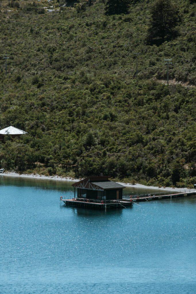 Boathouse along a lake on the Carretera Austral Chile