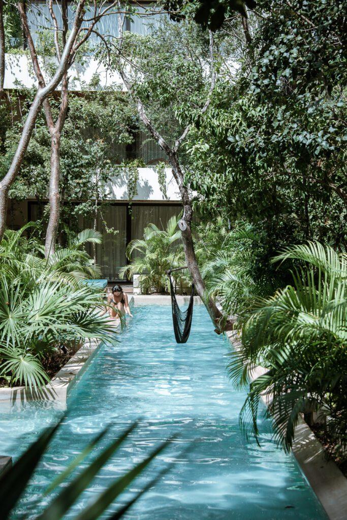 Boho chic hotel pool in Tulum