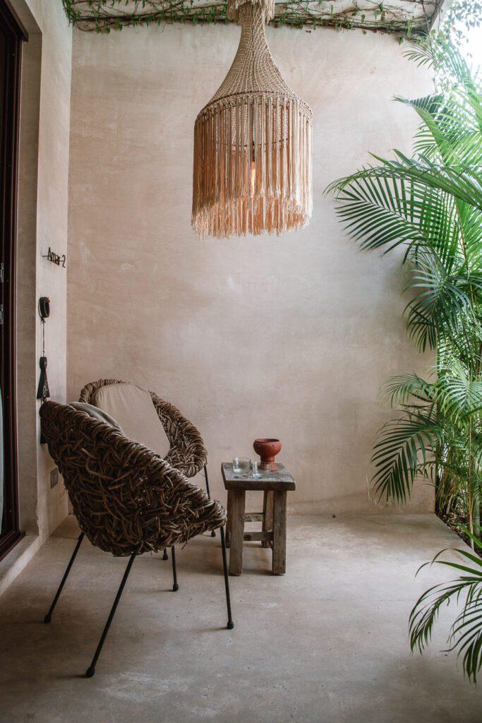 Tulum hotel interiors boho style