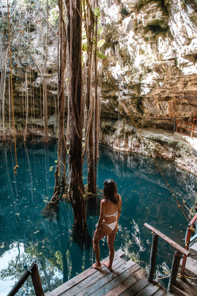 woman standing in a Valladolid cenote
