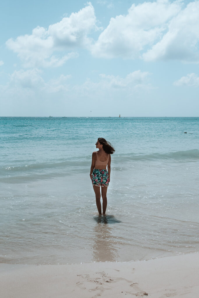 woman on the beach in Playa del Carmen