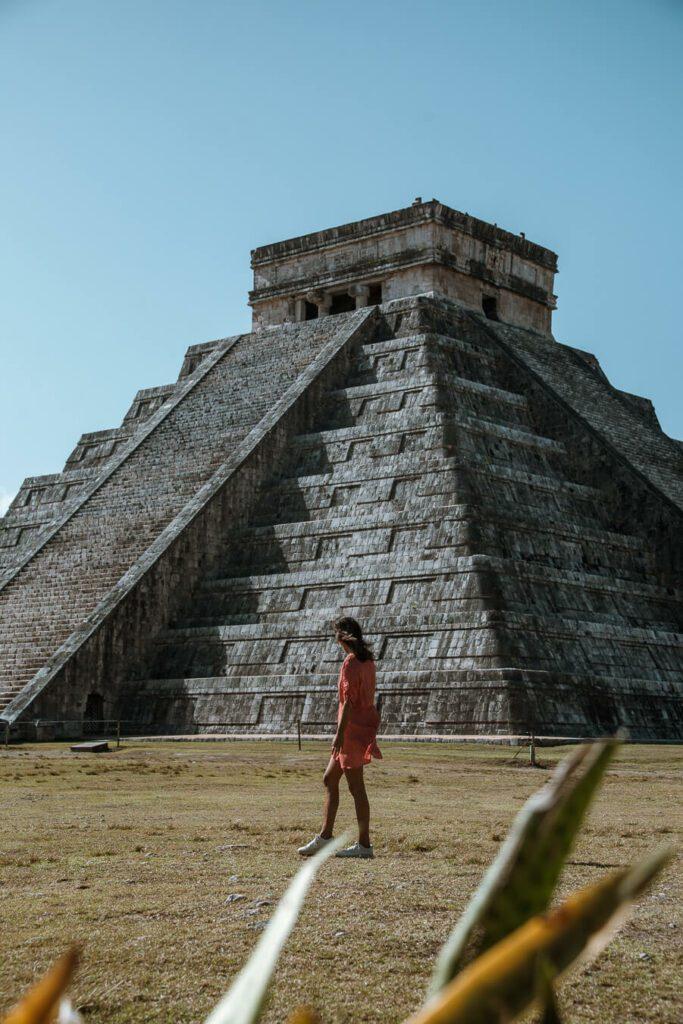 woman at Chichen itza mayan ruins mexico
