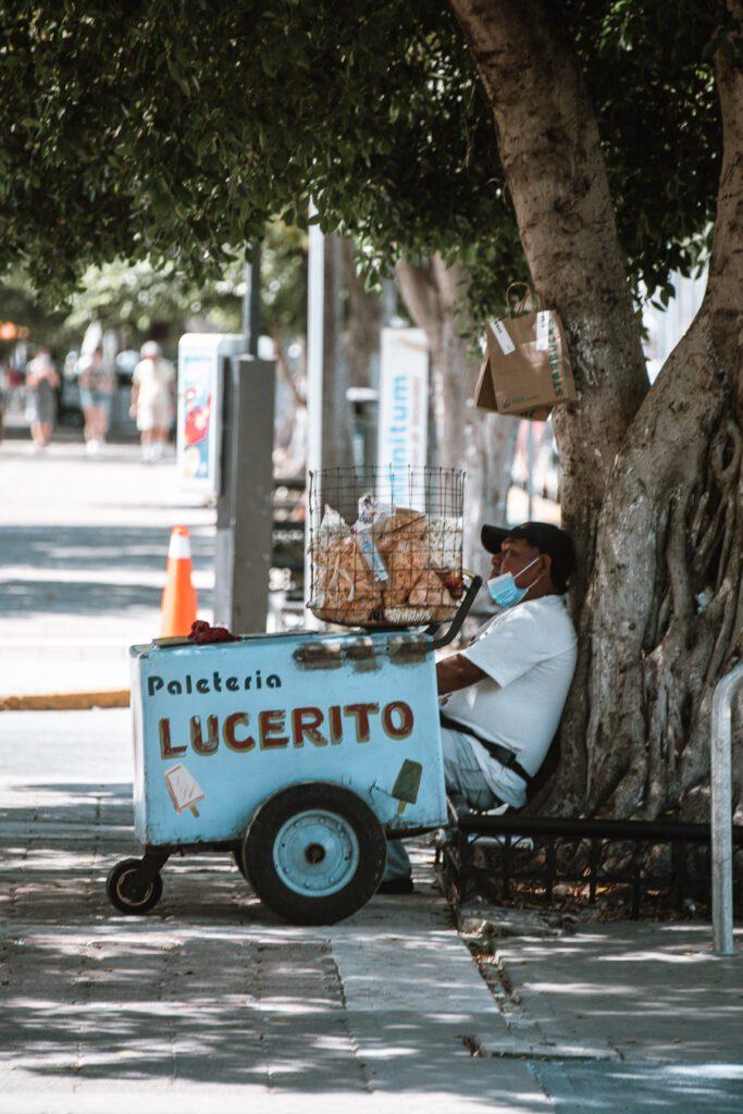 Ice cream vendor, Paseo Montejo, Merida