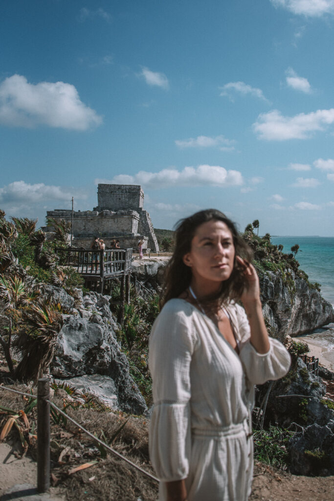 woman at the Tulum ruins