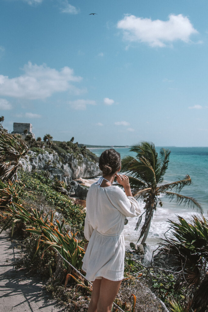 woman at the Tulum ruins, Mexico