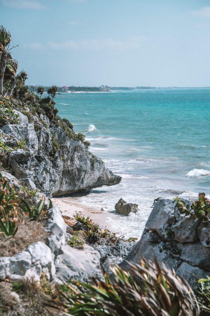 beach at tulum ruins mexico