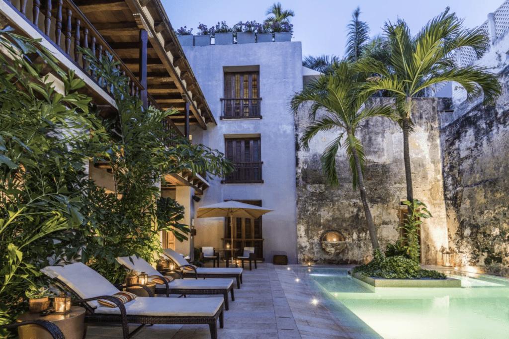 Luxury hotel courtyard in Colombia