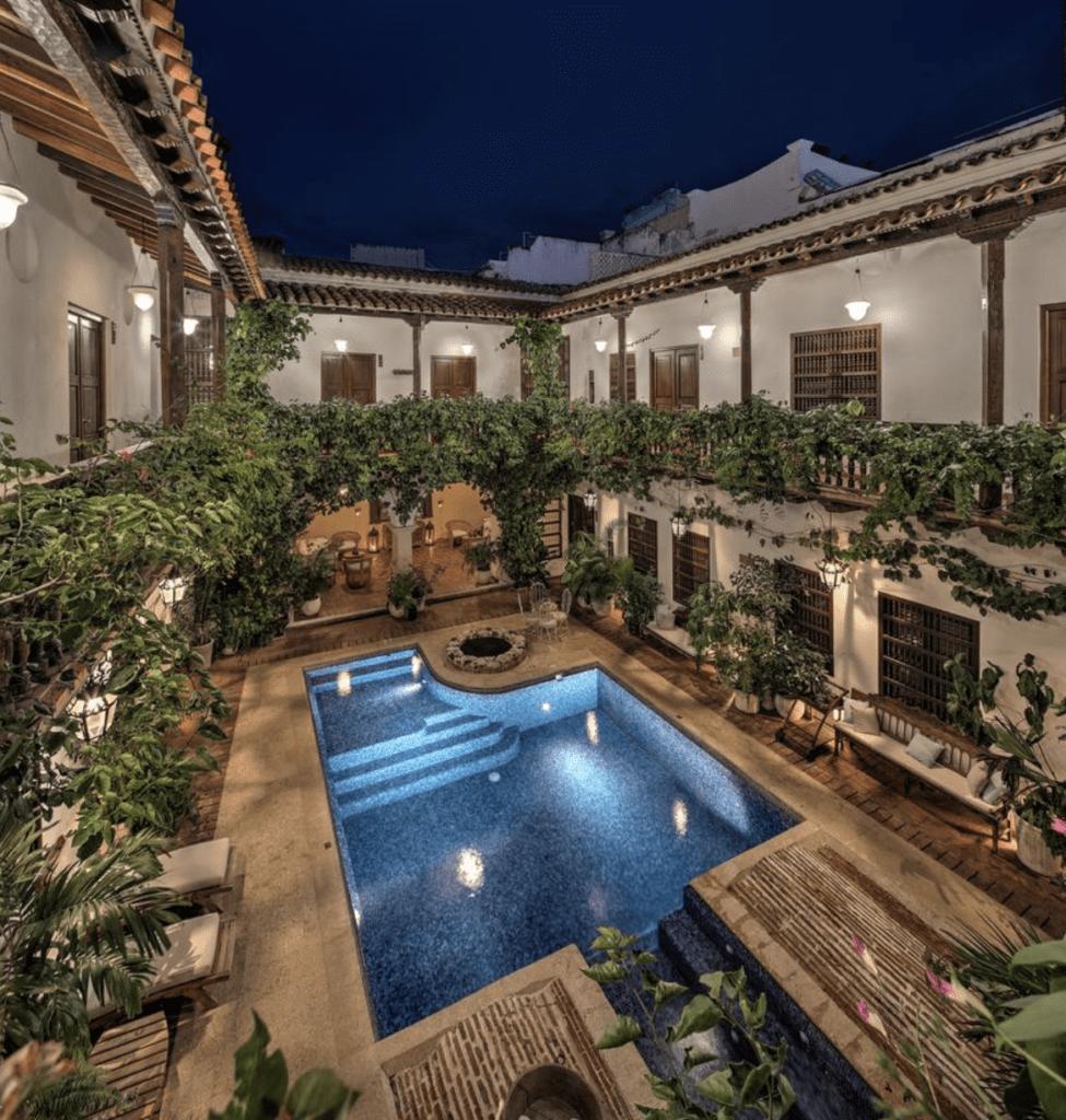 Hotel courtyard in Cartagena