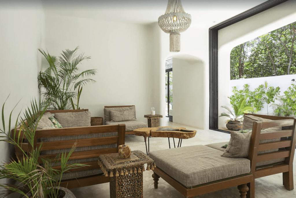 outdoor living space in luxury Tulum villa