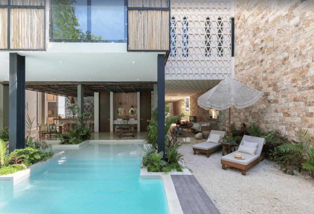 luxury tulum apartment rental pool area