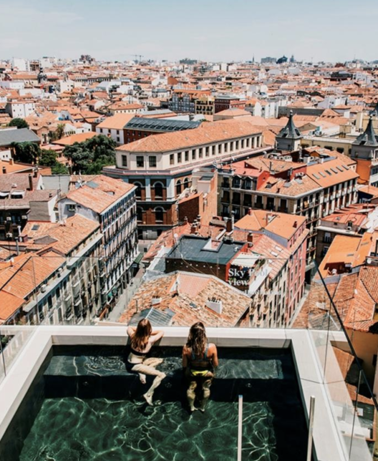 Rooftop pool and view of Madrid