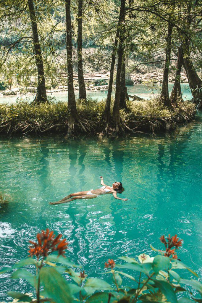 Woman in a natural pool Huasteca Potosina
