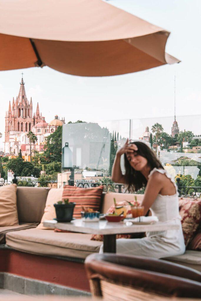 woman at a rooftop bar in San Miguel de Allende