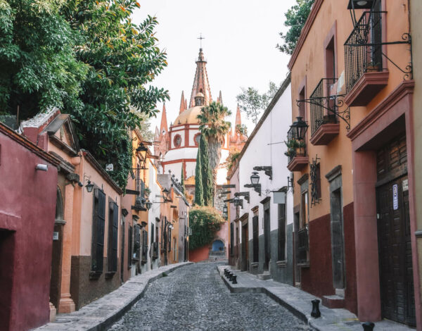 Streets and church of San Miguel de Allende Mexico
