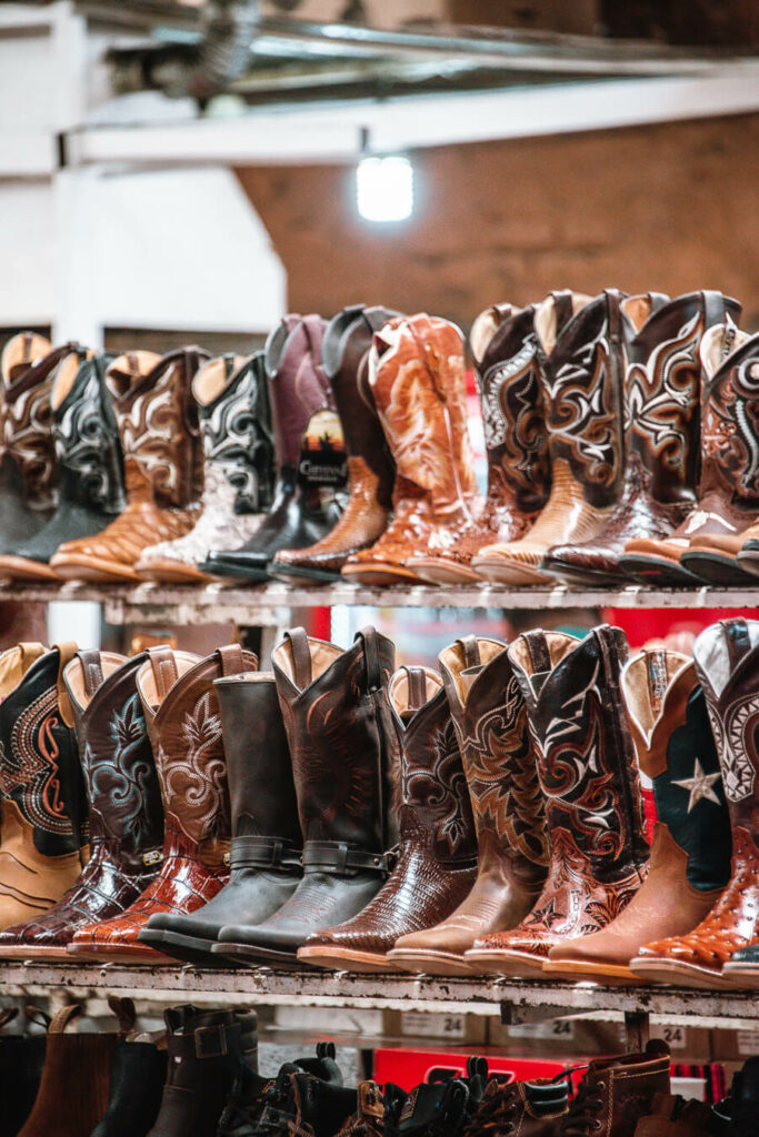 Cowboy boots for sale in a market