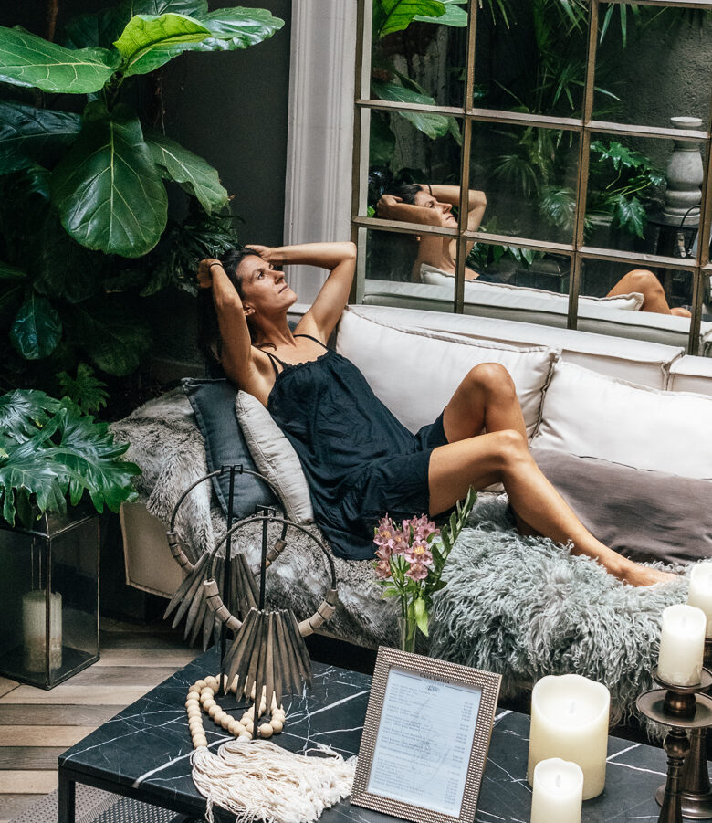 woman on sofa at hotel in Mexico City