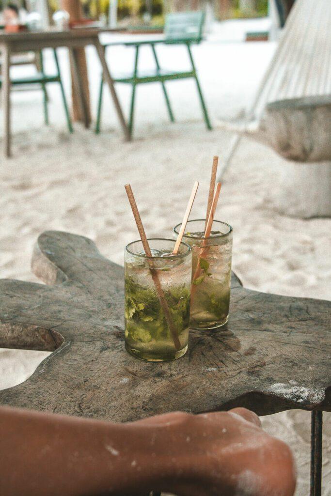 Mojitos at a beach bar