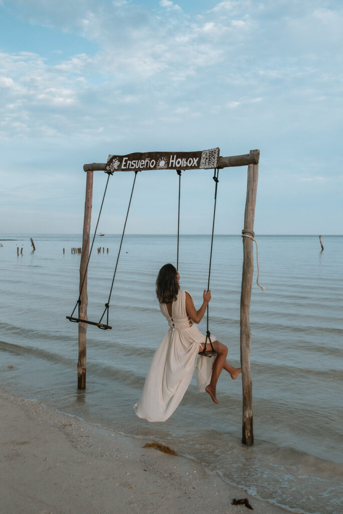 woman on swing in Holbox