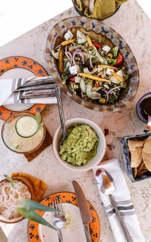 Table with food at Luna Tapas bar San Miguel de Allende