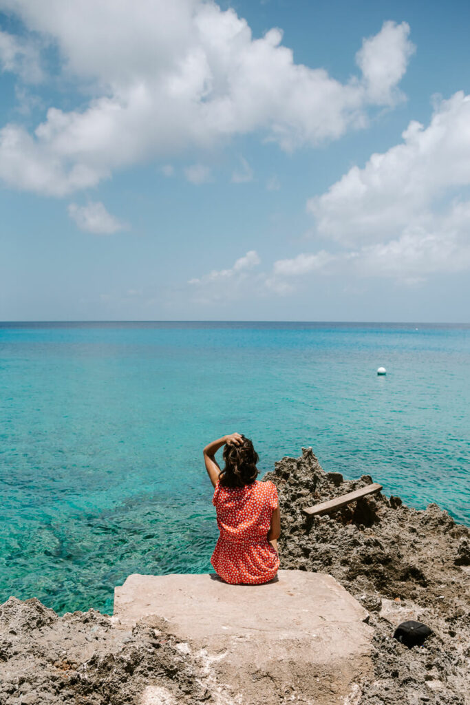 blue clear water in San Andres island