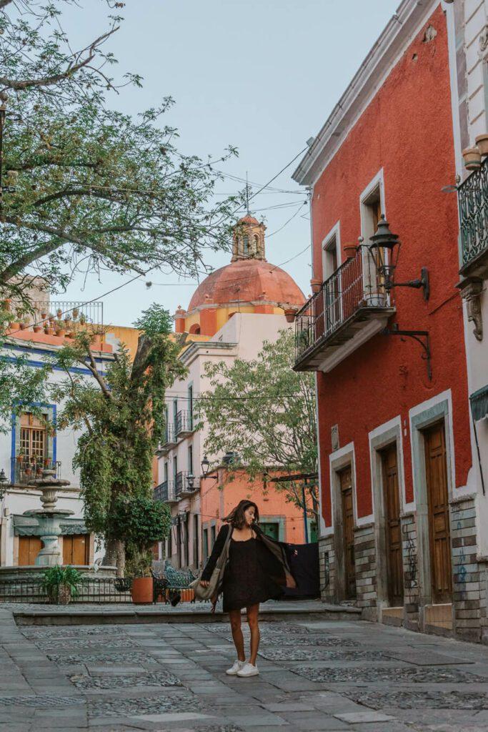 woman in plaza in Guanajuato Mexico