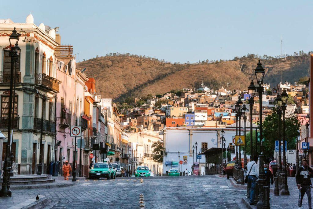 street scene in Guanajuato Mexico in the early morning